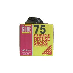 Robinson Young Refuse Sacks with Tie Handles 72 Gauge 100 litres 1000 x 1500 mm Ref 481 (Pack 75)