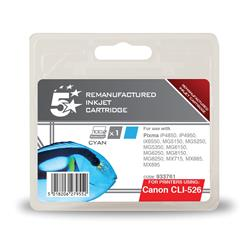 5 Star Office Remanufactured Inkjet Cartridge Page Life 570pp Cyan [Canon CLI-526C Alternative]