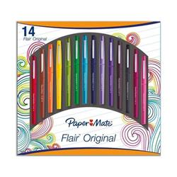 Paper Mate Flair Original Felt Tip Pen Medium Assorted Ref 1920367 (Pack 14)