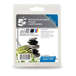 5 Star Office Compatible Inkjet Cartridges Capacity x1 11.2ml x3 7ml 4-Colour [Epson T1295 Alternative] [Pack 4]