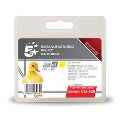 5 Star Office Compatible Inkjet Cartridge Page Life 545pp Yellow [Canon CLI-526Y Alternative]