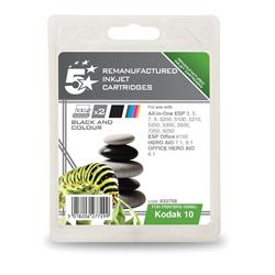 5 Star Office Remanufactured Inkjet Cartridge Black and Colour [Kodak 10B/10C Alternative][Pack 2]