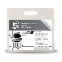 5 Star Office Remanufactured Inkjet Cartridge Page Life 410pp Black [Lexmark 16 10N0016E Alternative]
