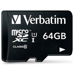 Verbatim Micro SDHC Card Including Adapter 64GB Black Ref 44084