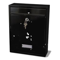 G2 Trent Post Box Wall Mounted Steel 2 Keys Fixing Kit A4 Slot W274xD110xH356mm Black