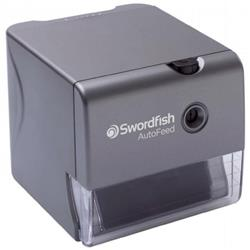 Swordfish Electric Pencil Sharpener Auto-feed Auto-eject Safety Shutter 8mm dia. Silver Ref 40327