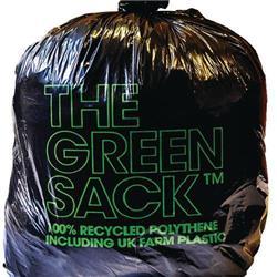 The Green Sack Refuse Sacks Light Duty Under 10kg Capacity Black Ref 703001 [Pack 200]