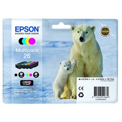 Epson T2616 Inkjet Cartridge Capacity 19.7ml Black/Cyan/Magenta/Yellow Ref C13T26164010 - Pack 4