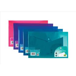 Concord Stud Wallet File Vibrant  Polypropylene Foolscap Assorted Ref 7089-PFL [Pack 5]