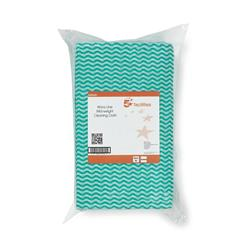 5 Star Facilities Cleaning Cloths Anti-microbial 40gsm W500xL300mm Wavy Line Green [Pack 50]