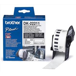 Brother P-Touch DK-22211 29mmx15.2m Continuous White Film Tape Ref DK22211