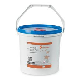 5 Star Facilities Disinfectant Wipes Anti-bacterial PHMB-free BPR Low-residue 19x20cm [Tub 1500 Sheets]
