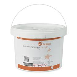 5 Star Facilities Graffiti Removing Wet Wipes Alcohol-based Cleaner 28gsm 28x28cm [Tub 150 Sheets]