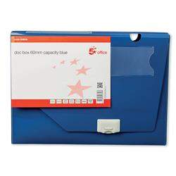 5 Star Office Document Box Polypropylene 60mm Capacity 600 Sheets A4 Blue