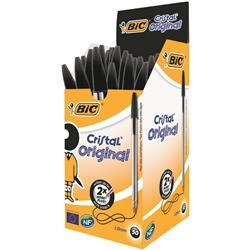 Bic Cristal Ball Pen Clear Barrel 1.0mm Tip 0.4mm Line Black Ref 8373632 - Pack 50