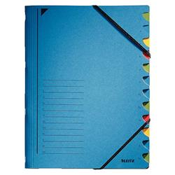 Leitz File Colourspan Cardboard Elasticated 12-Part Blue Ref 39120035 - Pack 5