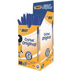 Bic Cristal Ball Pen Clear Barrel 1.0mm Tip 0.4mm Line Blue Ref 8373602 - Pack 50