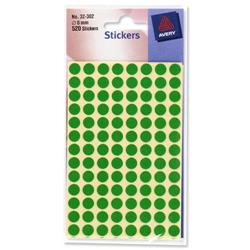 Avery Green Labels In Packets 8mm Diameter 520 Labels Ref 32-302 - Pack 10