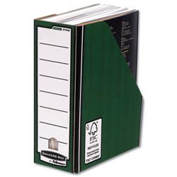 Bankers Box by Fellowes Premium Magazine File Fastfold A4 Plus Green and White Ref 0723006 [Pack 10]