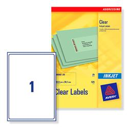 Avery J8567 Clear Inkjet Label 210x297mm Ref J8567-25 - 25 Sheets