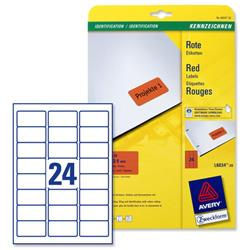Avery L6034 Coloured Labels Laser 24 per Sheet 63.5x33.9mm Red Ref L6034-20 - 480 Labels