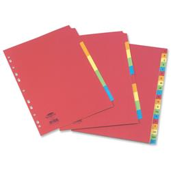 Concord Contrast Subject Dividers Europunched 5-Part Extra Wide A4 Assorted Ref 52199