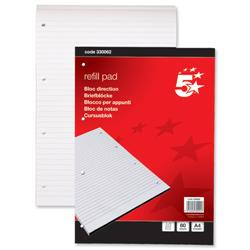5 Star Office Refill Pad Headbound Feint Ruled 60gsm 4-Hole Punched 80 Sheets A4 [Pack 10]