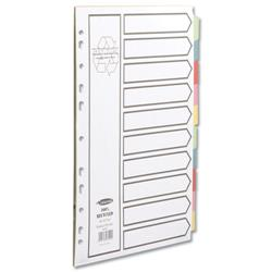 Concord Recycled Dividers 160gsm Card with Coloured Tabs 10-Part A4 White Ref 48199
