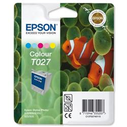 Epson T027 Inkjet Cartridge Intellidge Fish Page Life 220pp Colour Ref C13T02740110