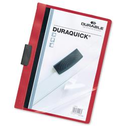 Durable Duraquick Clip Folder PVC Clear Front for 20 Sheets A4 Red Ref 2270/03