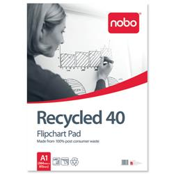 Nobo Recycled Flipchart Pad Perforated 70gsm 40 Sheets A1 Plain Ref 34631178 [Pack 5]