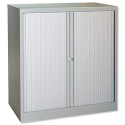 Trexus Tambour Cupboard Steel Side-opening W1000xD470xH1016mm Grey Ref Cst401