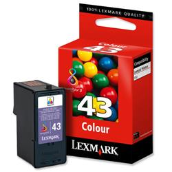 Lexmark No. 43XL Inkjet Cartridge High Yield Page Life 300pp Colour Ref 18YX143E