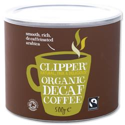 Clipper Fairtrade Instant Decaffeinated Coffee Organic Granules Freeze Dried Tin 500g Ref A06746