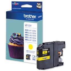 Brother Inkjet Cartridge Page Life 600pp Yellow Ref LC123Y