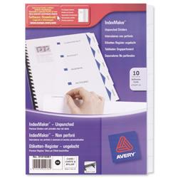 Avery IndexMaker Divider Set Unpunched 10-Part Ref L7416-10M