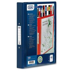 Elba Vision Ring Binder PVC Clear Front Pocket 4 O-Ring Size 25mm A4 Blue Ref 100080876 [Pack 10]