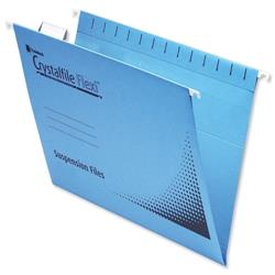 Rexel Crystalfile Flexifile A4 Suspension File Manilla V-base Blue Ref 3000047 - Pack 50