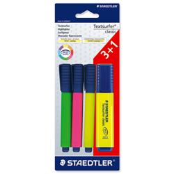 Staedtler Textsurfer Classic Highlighter Line Width 1-5mm Assorted Ref 364ABK4 [Pack 3 + 1 FREE]