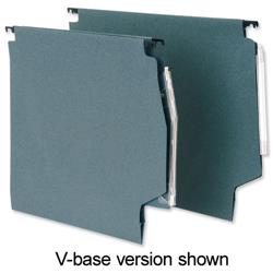 5 Star Office Lateral File Manilla with Clear Tabs and Inserts Wide-Base W275mm Green [Pack 50]