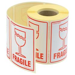 Parcel Labels Fragile 108x79mm on Roll Diameter 210mm [500 Labels]