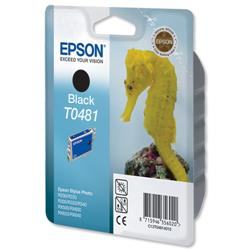 Epson T0481 Inkjet Cartridge Seahorse Page Life 550pp Black Ref C13T04814010