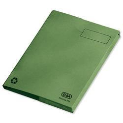 Elba Clifton Flat File with Back Pocket 285gsm Capacity 50mm Foolscap Green Ref 100090179 [Pack 25]