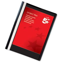 5 Star Office Project Flat File Lightweight Polypropylene with Indexing Strip A4 Black [Pack 5]