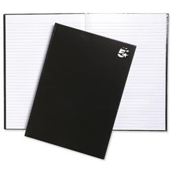 5 Star Office Notebook Casebound Hard Cover Ruled 80gsm A4 Black [Pack 5]