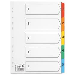 5 Star Office Index 150gsm Card with Coloured Mylar Tabs 1-5 A4 White