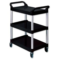 Rubbermaid 3 Tier Utility Cart Scratch Resistant Black Ref 3424-88-BLA