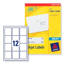 Avery J8164 Inkjet Address Labels 63.5x72mm 12 per Sheet Ref J8164-100 - Pack 120