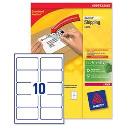 Avery L7173B BlockOut Shipping Labels 10 per Sheet 99.1x57mm Ref L7173B-100 - 1000 Labels