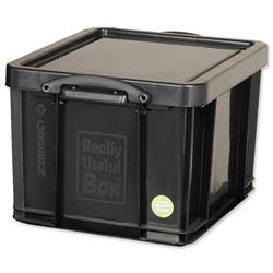 Really Useful Storage Box Plastic Recycled Robust Stackable 42 Litre W440xD520xH310mm Black Ref 42L